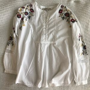 Loft colorful embroidered blouse